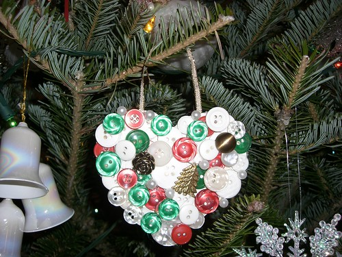 Ornament made with buttons