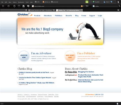 Chitika Home Page Screenshot
