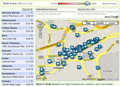 Walk Score map of Clarendon
