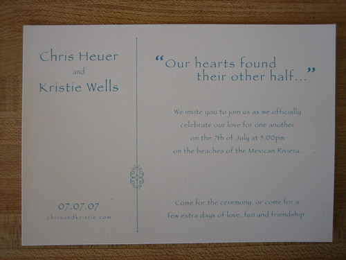 Heuer-Wells wedding invitation