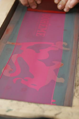 Silk screen printing the graphics on a pair of Boheme skis