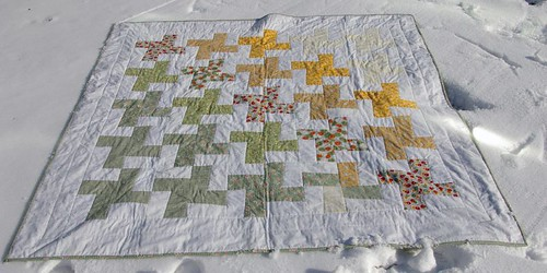 Pinwheel Quilt in the snow