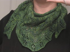 Finished Ishbel scarf. A relatively quick knitting project.