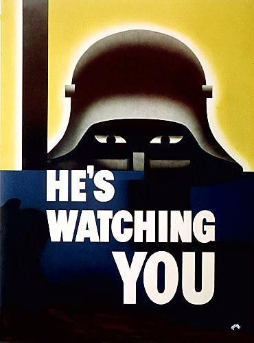 WW2 Poster He's Watching You