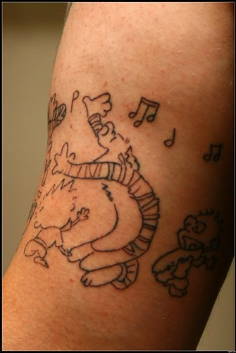 Calvin and Hobbes Tattoo after session one