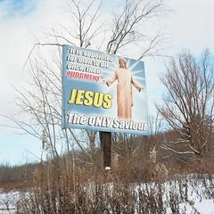 (super ape) Tags: winter ny newyork tlr rollei jesus upstate billboard vb jamestown wny expiredfilm rolleicord saviour kodakportra160nc