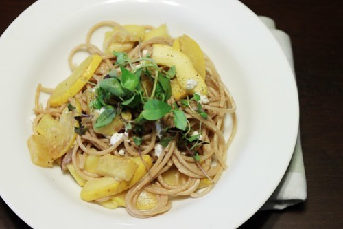 squash and goat cheese pasta