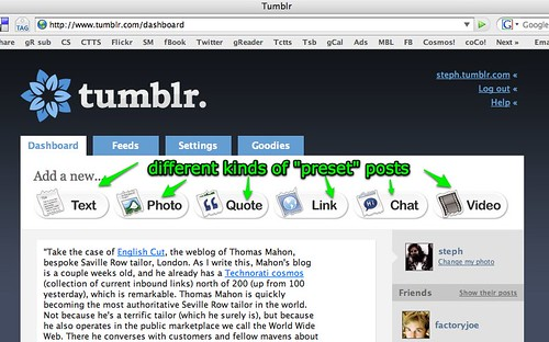 Tumblr Dashboard