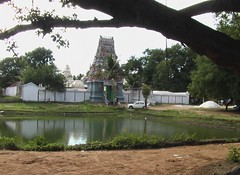 In the backdrop of the beautiful temple tank