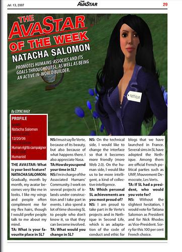 The AvaStar of the Week : Natacha Salomon