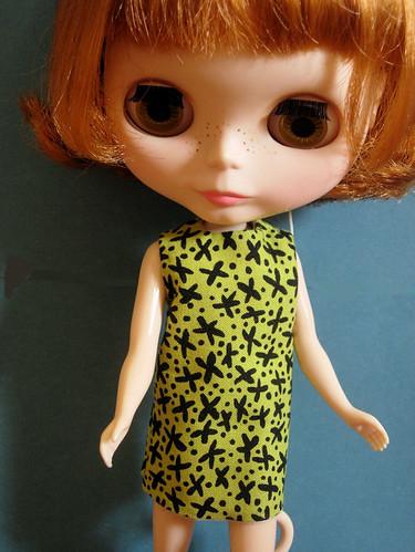 Celia modeling a new dress