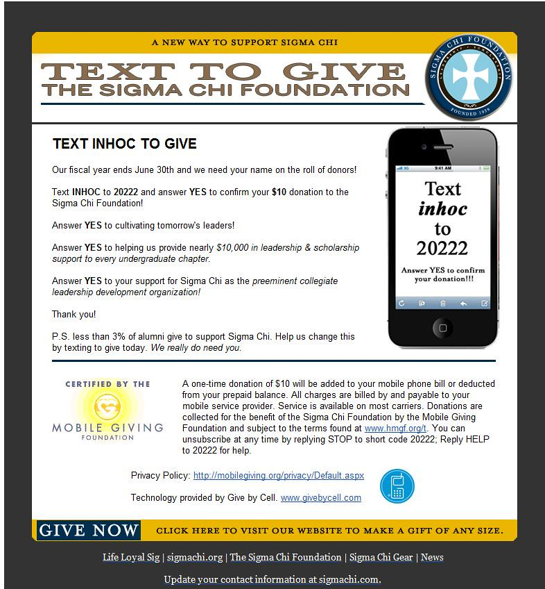 "Sigma Chi Foundation ""Text To Give"""