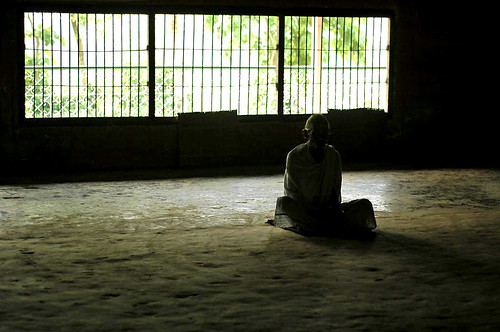 he sat alone....