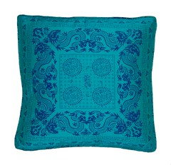 Vintage Turquoise Chinoiserie Throw Pillow