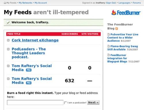 my feedburner feed stats