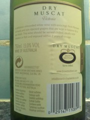 Brown Brothers Dry Muscat 2006 back label