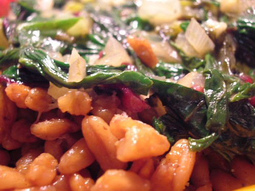 Swiss Chard and Sorrel over Spelt - Close Up
