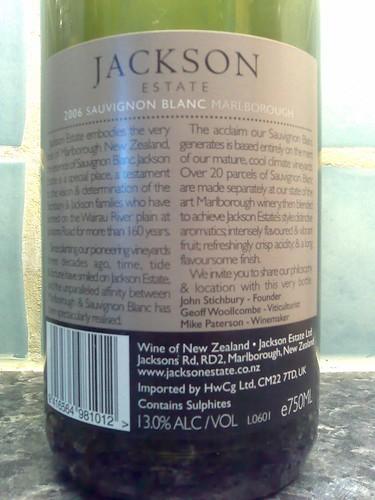 Jackson Estate Sauvignon Blanc 2006 back label