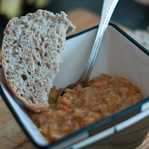 Split-pea soup and homemade bread