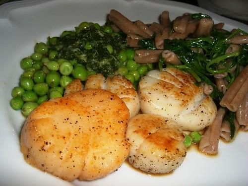 Scallops & Peas in Brown Butter with Pistou de Menthe and Strozzapretti alla Rughetta