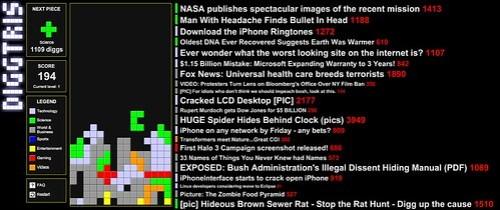 Diggtris: Tetris based on Digg