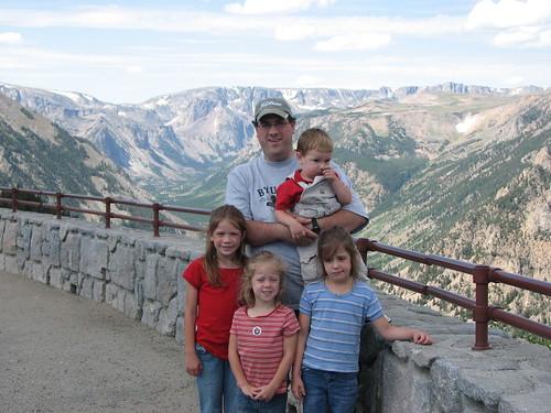 Paul and Kids at Vista Pt at Bear Tooth Mtns