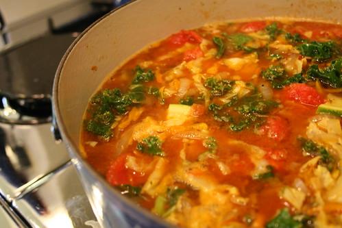 minestrone soup in progress