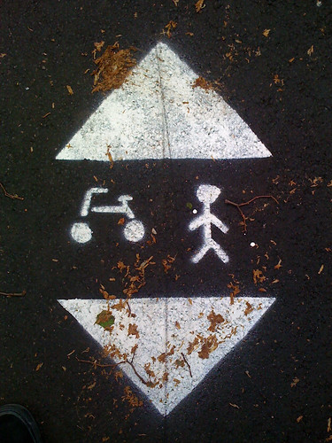 Symbol pained on the paths at Brompton Cemetery