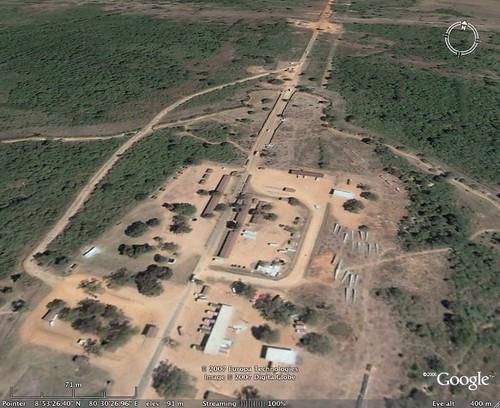 Omanthai crossing point in Sri Lanka from Google Earth