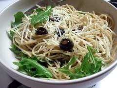 Spaghetti Aglio e Olio with Arugula