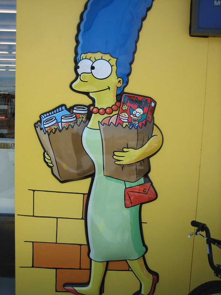 Marge Simpsons getting out from kwik e mart