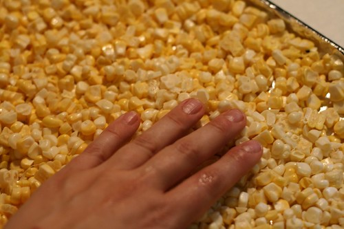 Pat kernels out into one layer on a baking sheet