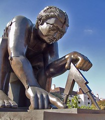 Newton (after Blake), by Eduardo Paolozzi, British Library Piazza by chrisjohnbeckett on Flickr.