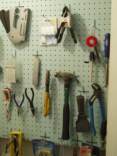 Hand tools on peg board