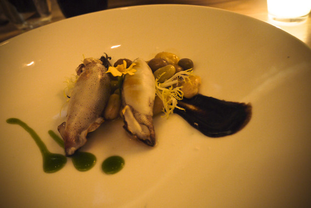 marrow stuffed squid, tamarind pork, shelling beans, black gardlic, cilantro