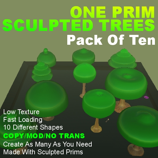 1 Prim Sculpted Trees - Copyable