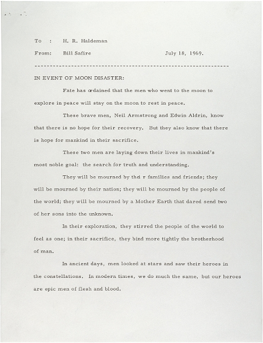 Letters of Note: IN EVENT OF MOON DISASTER