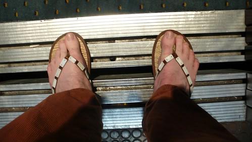 Ian's funky new flip flops