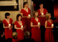 Bridesmaids with candles