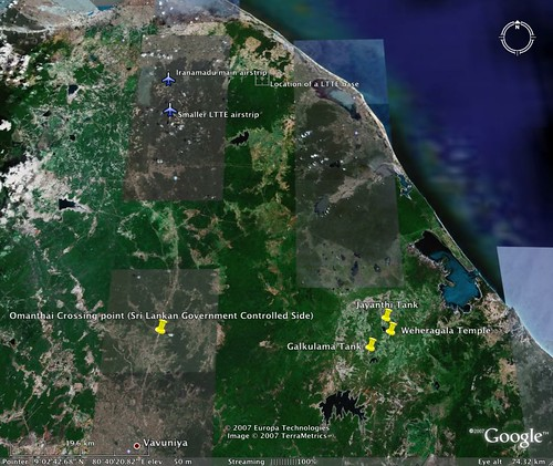 Padaivya Google Earth showing proximity of the LTTE bases and airstrips.