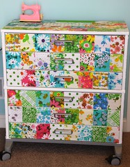 Decoupaged Drawers (sweetjessie) Tags: vintage fabric sheet patchwork decoupage