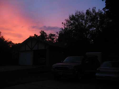 Packing Under Purple Sunset