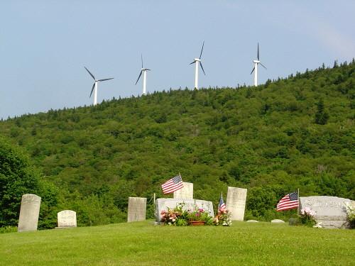 Windmills near cemetery