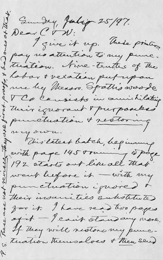 Letters of Note: Mark Twain on proofreaders