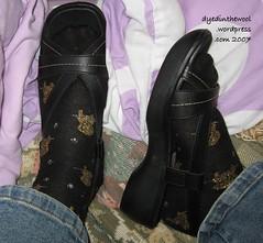 black sandals and glitzy socks
