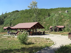 common area and cabin #7 where i stayed - at the base of the mtns.