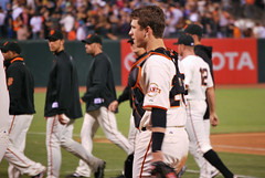 Giants and Dodgers game Buster Posey