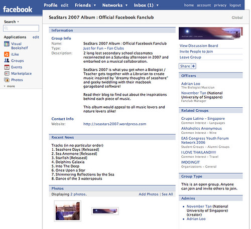 screenshot - SeaStars 2007 Album Facebook Fanclub