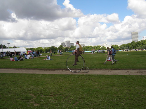 chap on a penny farthing