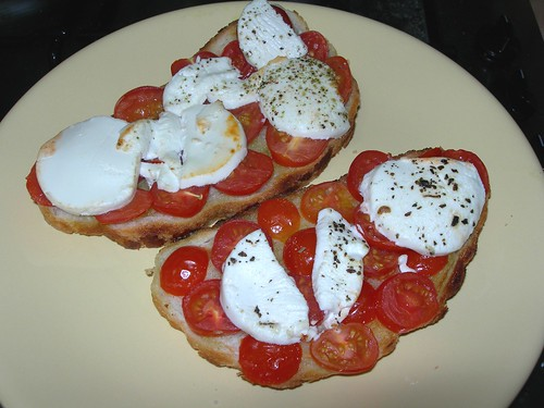 goat's cheese, tomatoes and basil oil on bread